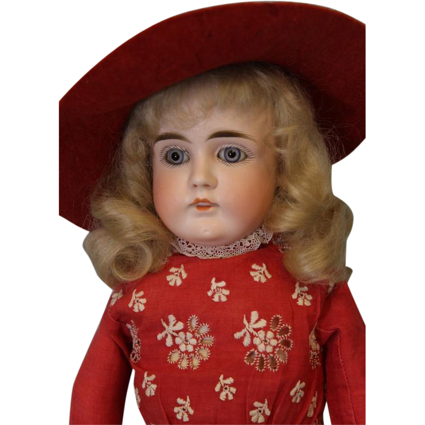 Antique 15 inch Turned Head Mystery German Bisque Doll Marked  4  Open Closed Mouth