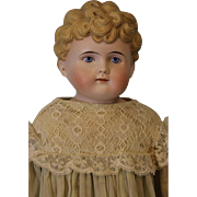 22 inch Antique German Bisque Doll Marked 1214  8 Painted Eyes Molded Blonde Hair