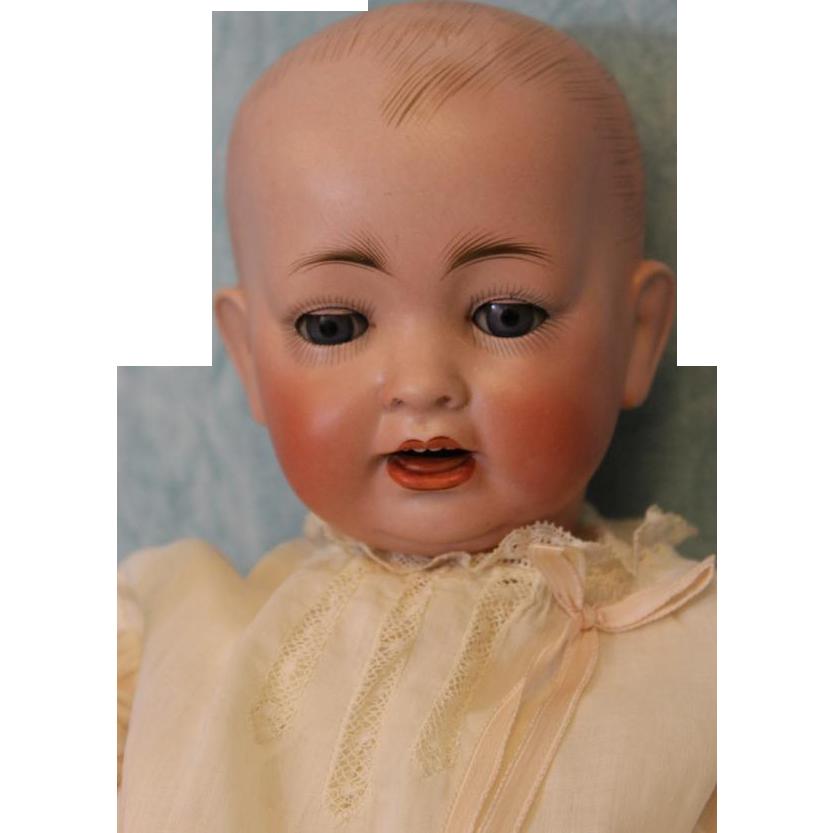 c.1915 18 inch Hertel Schwab  151 German Bisque Antique Baby Doll Solid Dome Head