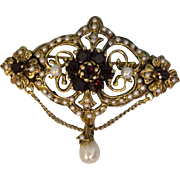 Lovely Ornate 18 Karat Yellow Gold Rhodolite Garnet and Cultured Pearl Brooch