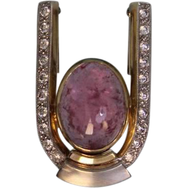 14 Karat Yellow Choice Custom made Diamond and Pink Tourmaline Pendant or Enhancer, Two Tone Gold