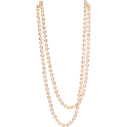 Lady's 18 K Yellow Gold Clasp on 52 inch Long Strand of 8mm Baroque Cultured Pearls