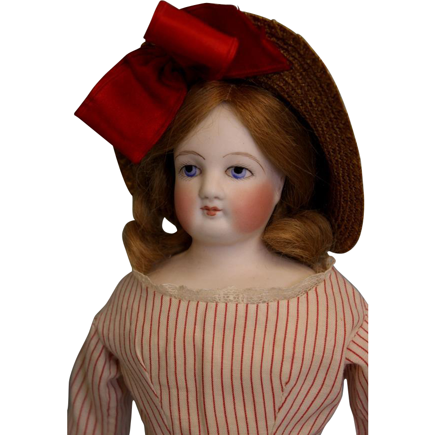 Antique 14 inch Blue Eyed French Bisque Fashion Doll Antique Clothes,bonnet and Wig.