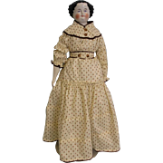 Large Antique 24 inch China Head Doll c.1870s Original Cloth Body and Corset