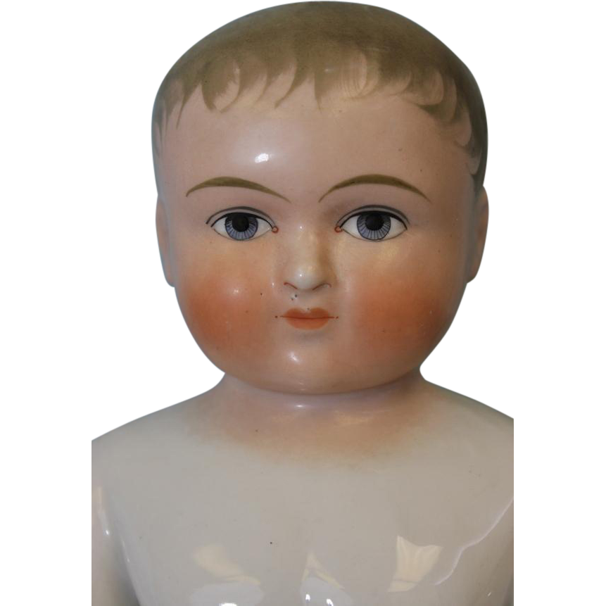 15.5 inch Antique German Blonde Frozen Charlie China Bathing Doll c1910 Large Size