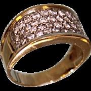 Lady's 18 Karat Yellow and White Gold Pave Fashion Diamond Ring 1.50 ctw Gorgeous