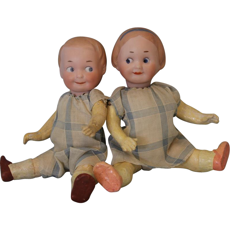 Twin 7 inch Antique Googly Dolls German Bisque Brother and Sister AM and Recknagel