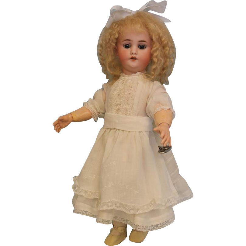 Antique 17 inch Simon Halbig 1039 German Bisque Character Walking Doll with Key 1900