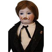 """RARE 20"""" Open Mouth Bisque French Fashion Man Doll Eugene Barrois Mustache Man"""