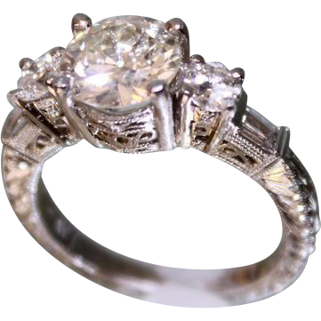 Lady's Platinum and Diamond Ring 1.75 Center diamond plus more diamonds Hand Chased
