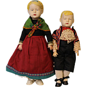 14 inch Harald 16 inch Inge Wagner and Zetzsche Art Doll 1916 Original Haralit Composition