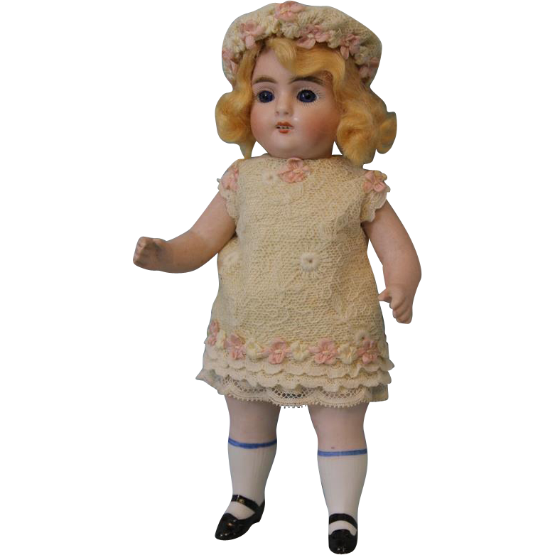 Antique 7.25 inch Strobel and Wilken All Bisque German Doll Marked 251 circa 1910