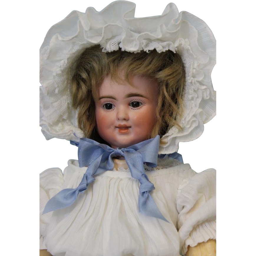 Antique 17 inch, 3 Face Bisque Pull String Talking Doll, by Carl Bergner Old Clothes
