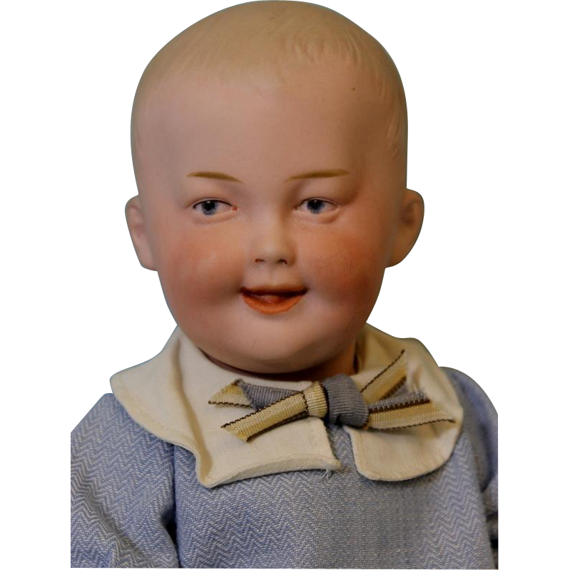 13 inch Antique German Bisque Gebruder Heubach Smiling Character  number 7647 Doll c. 1912