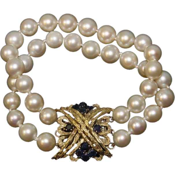 Antique Lady's Double Strand Cultured Pearl Bracelet with Sapphire Clasp 14k YG