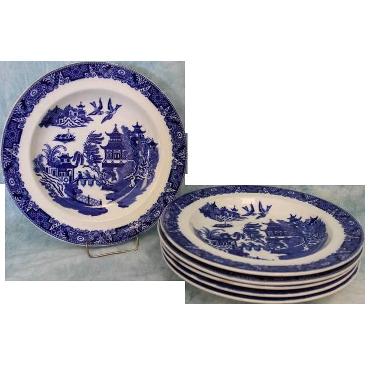 6 Antique Royal Worcester Blue Willow bowls.