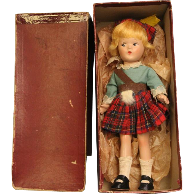 9 inch Madame Alexander Little Betty Scottish Doll All original with RED Box 1937 to 1941