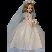 "20"" 1950's Binny Walker Madame Alexander Bride Doll Original Dress, Veil, Bouquet, +++"