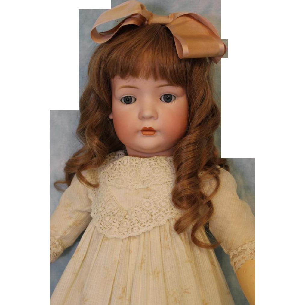 Antique 28.5 inch 2072 German Bisque Closed Mouth Bruno Schmidt doll B. Jtd Body
