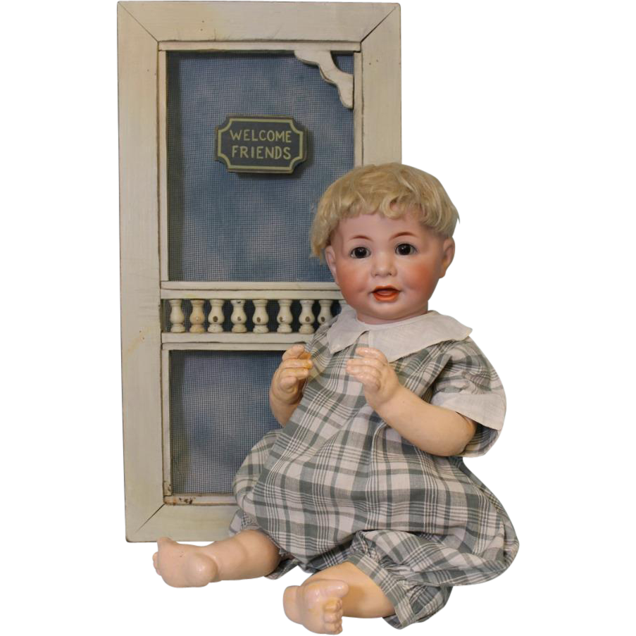Antique 19 inch German Bisque K star R Kammer and Reinhardt 116A Charcter Baby Doll c.1900