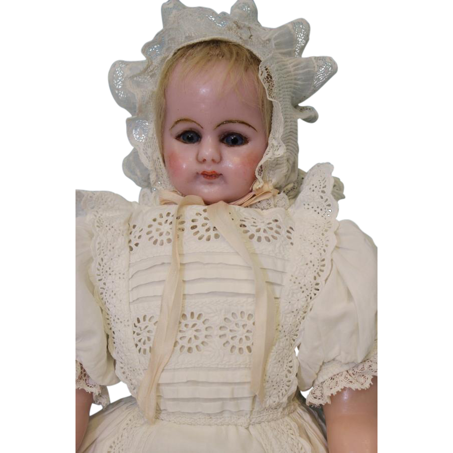 Antique 20 inch English Poured Wax Doll Stamped Cloth Body, Christening Gown c.1870