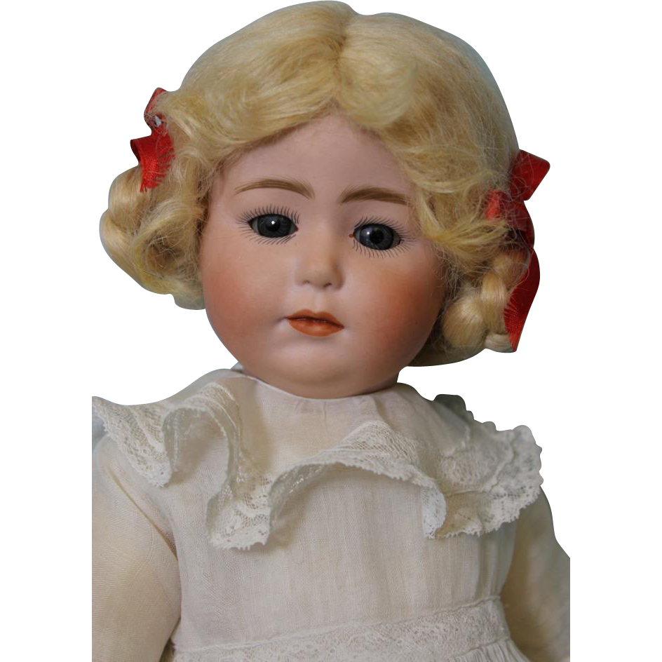 Antique German 15 inch Gebruder Heubach 8429 Closed Mouth Glass Eyed Pouty Toddler