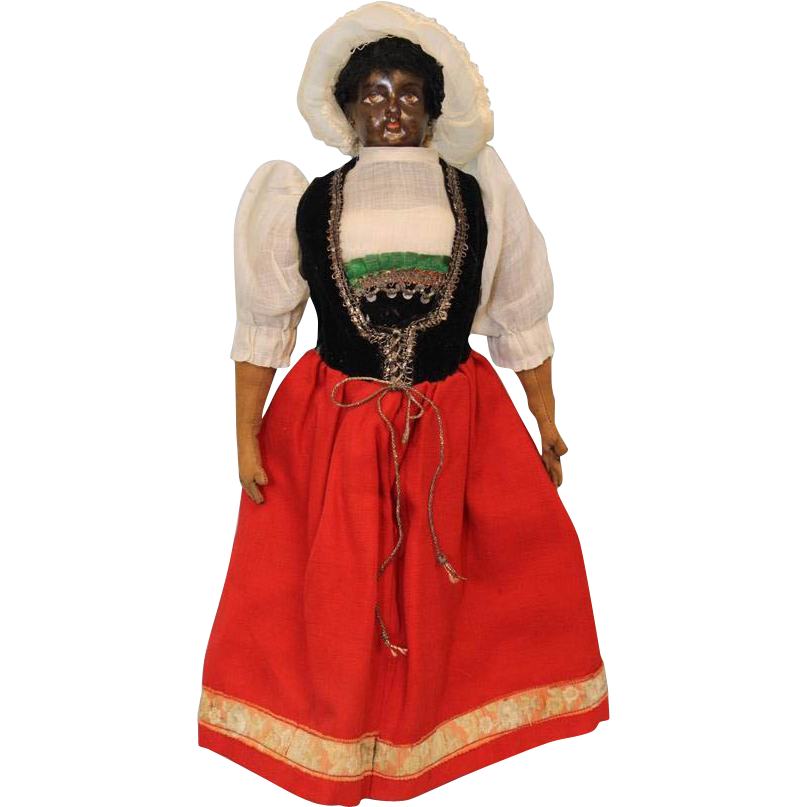 c.1915 13 inch Antique François Gaultier BLACK Bisque French Fashion Doll
