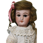 10 inch Antique Simon Halbig German Bisque Doll  number 749 DEP c1890 Cute Eyelet Dress