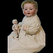 18 inch Antique Kestner Baby 211 Doll c1910 Blue Sleep Eyes, Full Skin Wig, ADORABLE