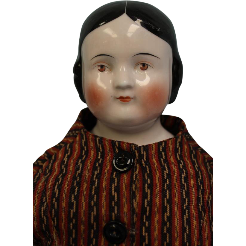 22 inch Antique Brown eyed, Kestner, Pink Luster China Head Doll Old Clothes c.1860