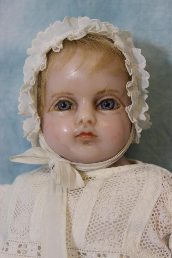 Antique 20.5 inch English Montanari Poured Wax Doll Turned ...