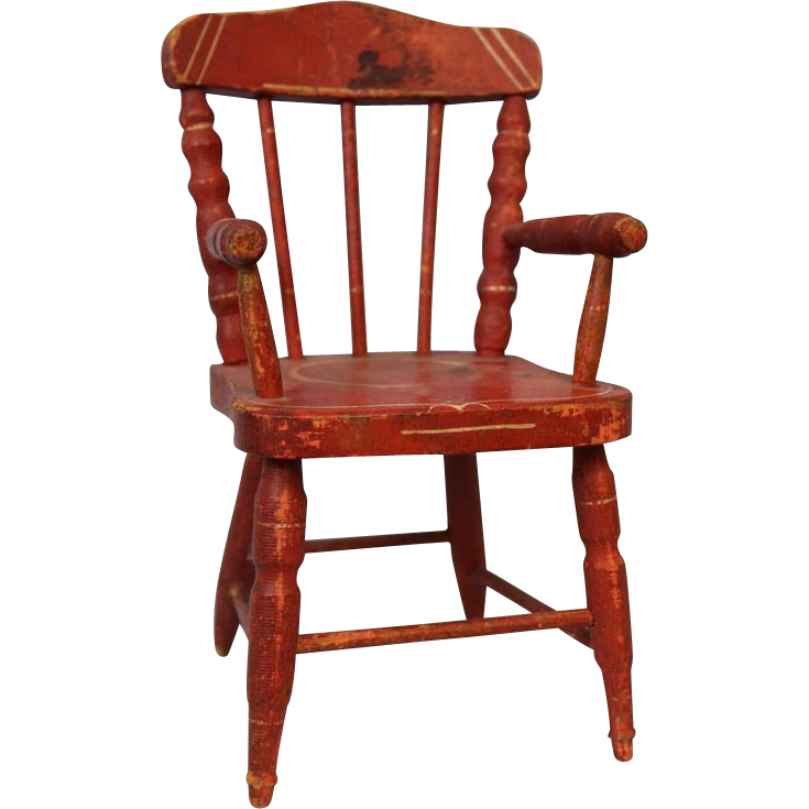 c.1900 Antique Miniature Doll Chair Red Painted Primitive Doll Display Accessory