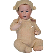 10 inch Antique c1912 Swaine and Co Character number 232 Doll with Flocked Hair Cute Boy.