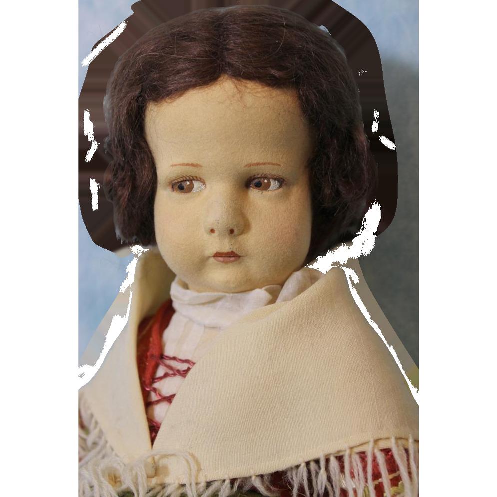Rare 17 inch Lenci Doll 1930s Milano Lombardia 300 Series Original Costume.