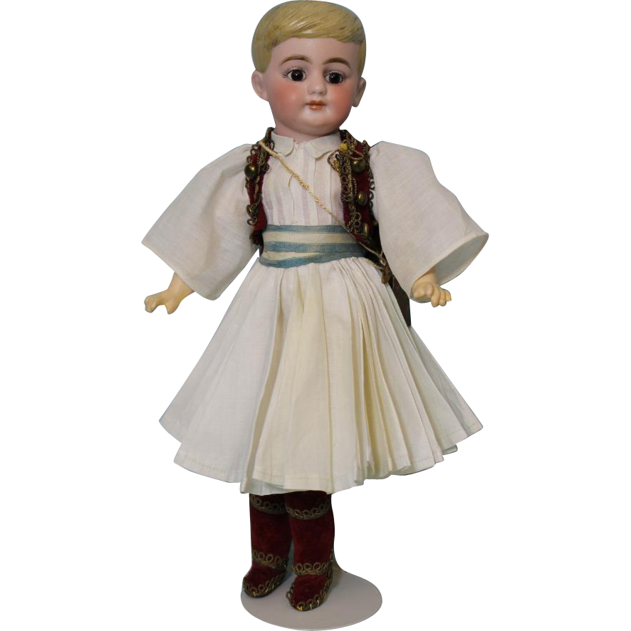 12 inch Antique Molded Hair German Bisque Boy doll Orig Greek Guard costume