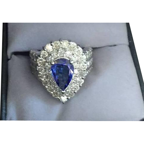 Outstanding Pear shaped Tanzanite and Diamond Ring 14k White Gold Sz. 7