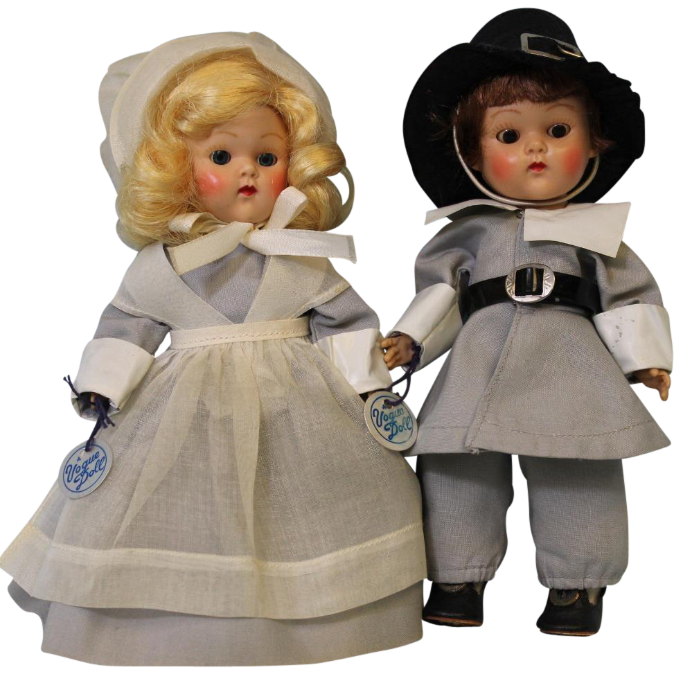 TWO 8 inch Vogue Ginny Doll Pilgrim Priscilla and John Alden, Frolicking Fables Series