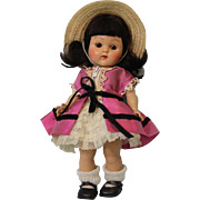8 inch Painted lash Vogue Ginny Doll rare dark brunette hair, Afternoon, Talon Zipper