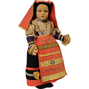 Antique 14 inch Lenci Cerce Maggiore Tag Italian Doll National Costume Cloth c.1930s