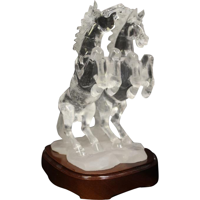 2 Carved Clear Quartz Crystal Two Horses with Base