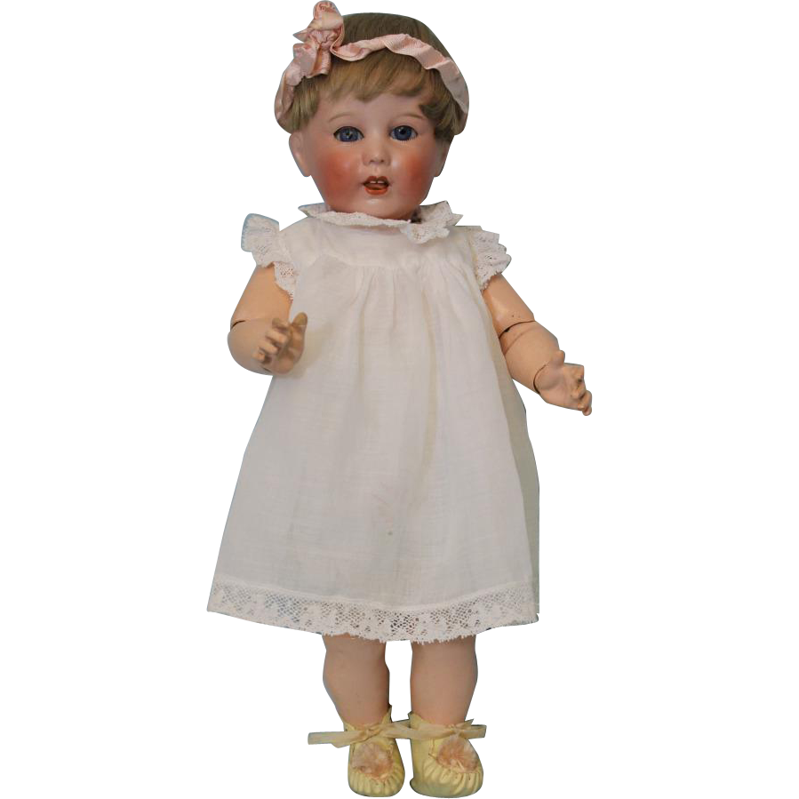 15 inch SFBJ 251 Paris toddler doll with original body antique clothes