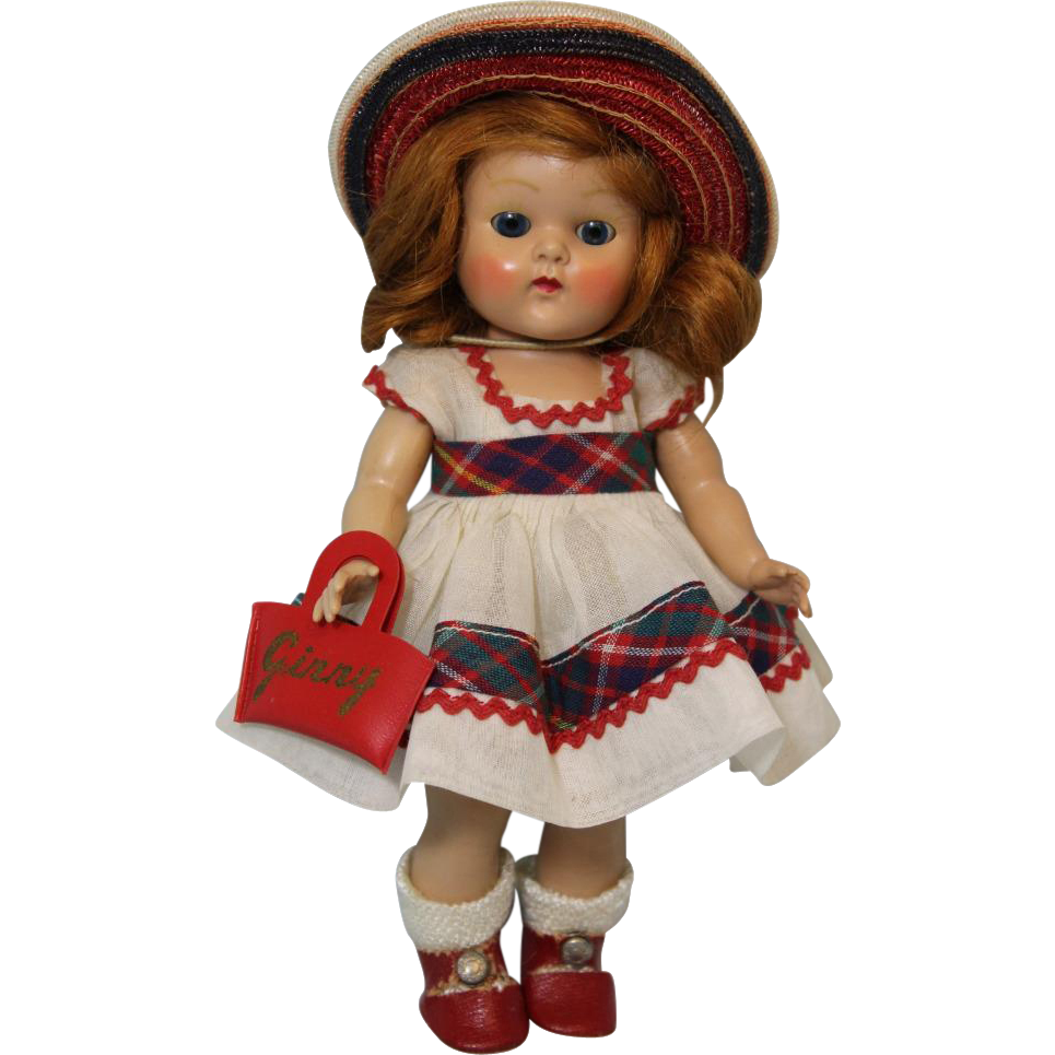 8 inch Red Haired Vogue Ginny doll painted lashes June Tiny Miss series 1953