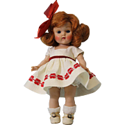 8 inch Red haired painted eye Vogue Ginny Doll in white pique dress and Panty 1952