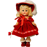 8 inch Painted Lash Ginny Doll Debutante Red Velvet Dress from 1953 Orig. Clothes