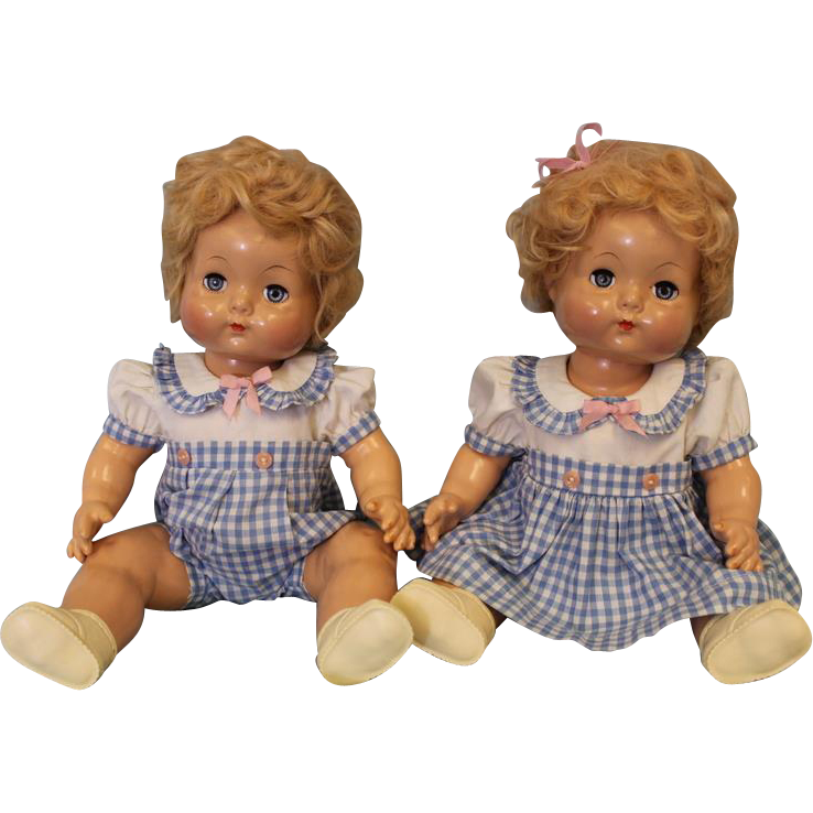 RARE c.1946 16 inch Effanbee Mickey and Janie Dolls Composition TWINS! Original Family