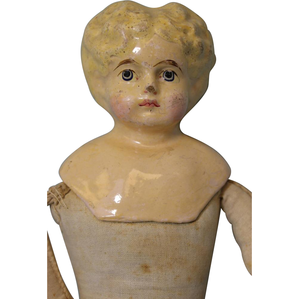 13 inch German Antique Papier Mache Composition Doll Blonde Hair Leather Hands Cloth