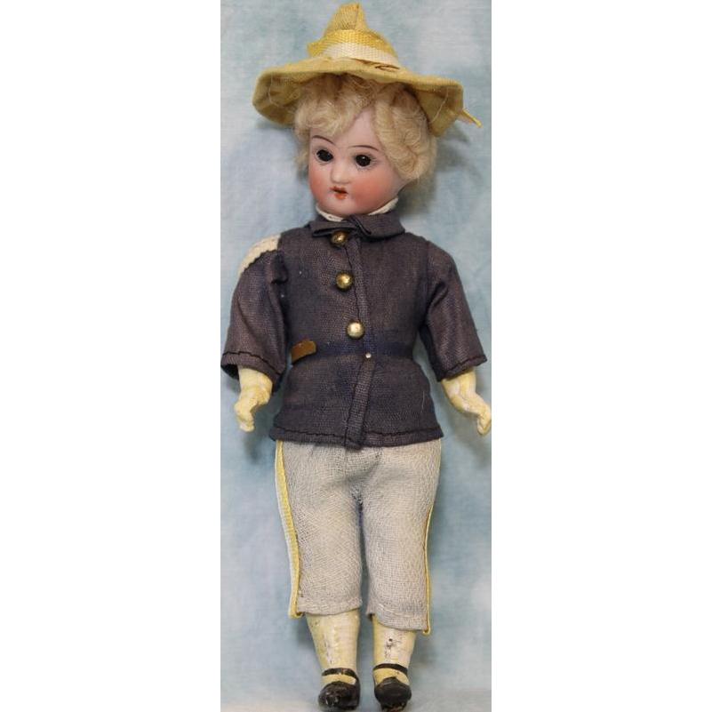 6.5 inch All Original Antique Soldier Boy doll bisque head 5 piece Papier Mache Body