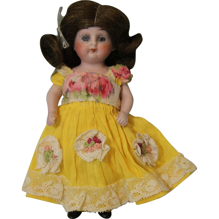 5 inch Antique All Bisque C/M Doll, PRIZE BABY, With Original Chest Label German c.1914