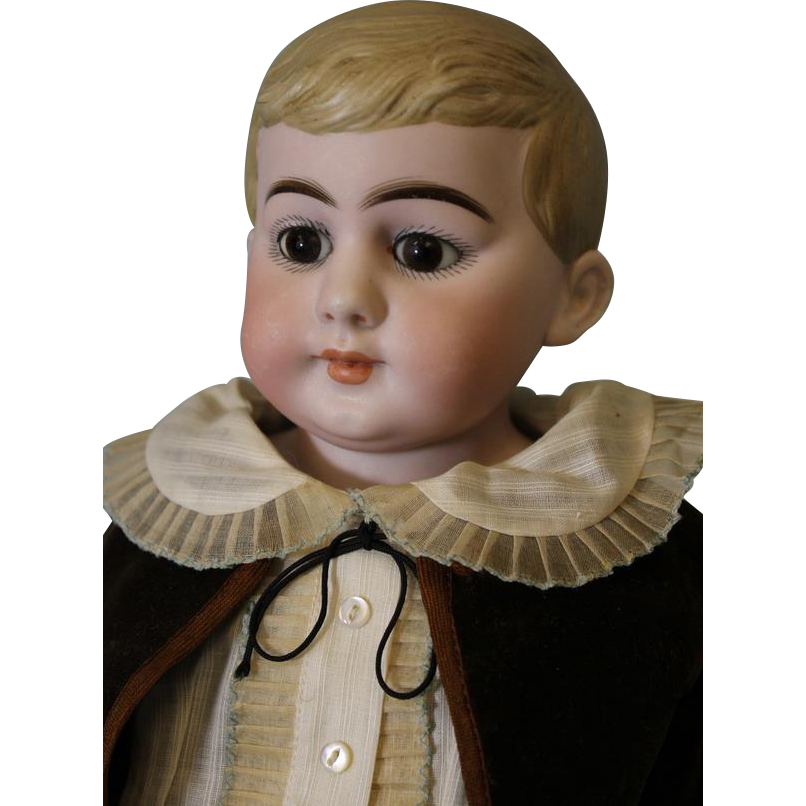 Antique 21 inch German Bisque Doll Marked, 30/B 7.5 Young Boy Closed Mouth