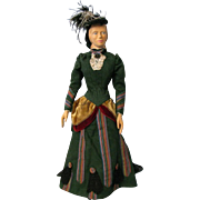 18 inch carved wood art doll, CAROLINE 1889, HELEN BULLARD signed 1967 NIADA artist